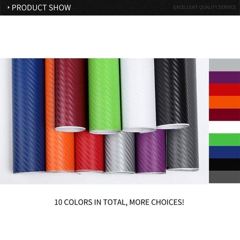 30*127cm 12 Colors 3D Carbon Fiber Vinyl Car Wrap Sheet Roll Film Sticker Decal