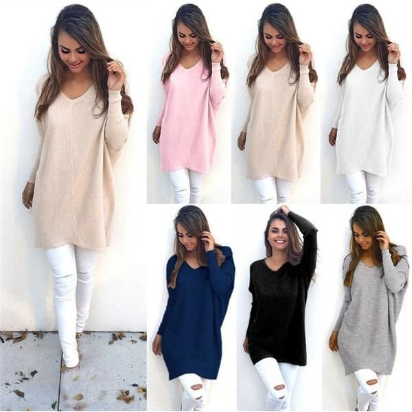 Casual Loose Long Sleeve Mini Dress Women V-neck Tops Pullover Jumper Tops Fashion Winter