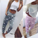 Casual Womens Fashion Sexy Star Print Drawstring Pencil Pants Sports & Outdoor Active Pants
