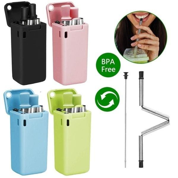 GREEN Reusable ECO-Friendly Fold Straw Collapsible With Key Carrying Case