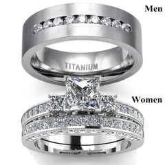 Couple Rings His And Her Three Stone Princess Cut 1ct Diamond
