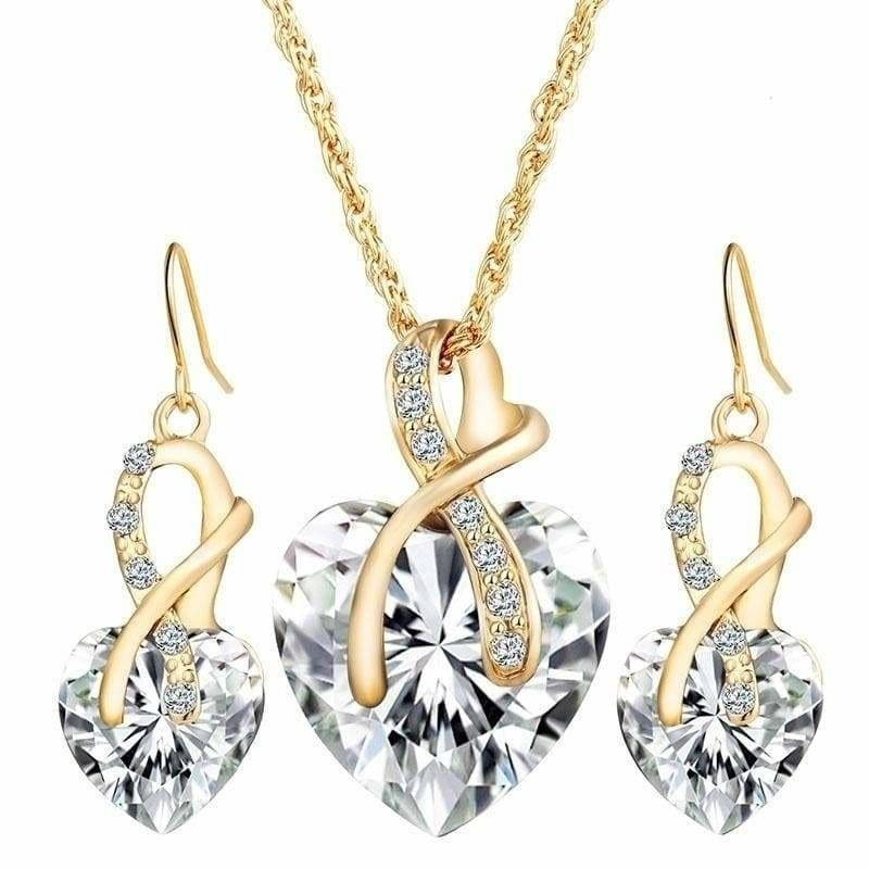 Crystal Heart Necklace Earring Jewelry Set Love Shiny GoldPlated Necklaces Earrings Woman Romantic