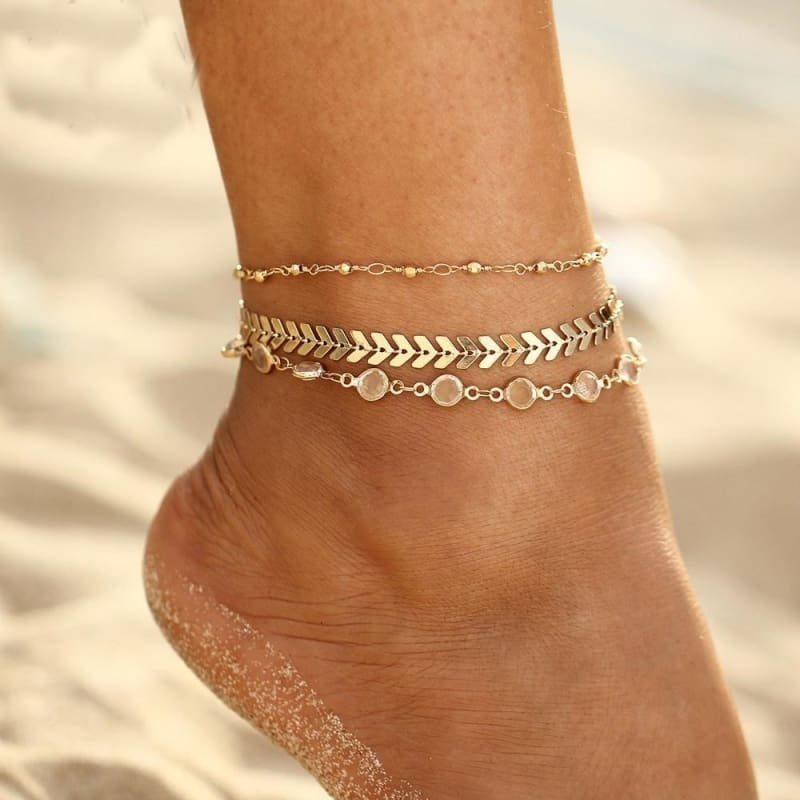 Boho Women Two Layers Pearl Beads Ankle Chain Anklet Bracelet Beach Foot Jewelry