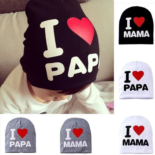 Cute I LOVE MAMA//PAPA//Mom//Dad Toddler Kids Baby Boy Girl Infant Cotton Soft Hat
