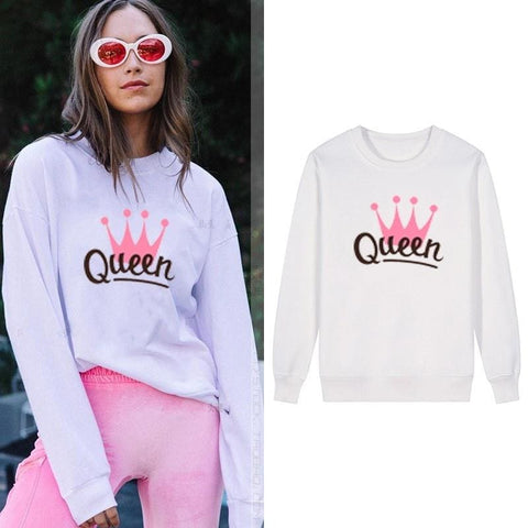 Cute Women Sweatshirt Queen Pink Crown Print White Fashion Tops Spring Autumn Pullover Size S-3XL