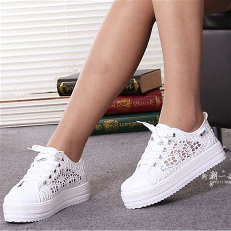 Womens Platform High Wedge Heel Shoes Canvas Floral Lace Mesh Sneaker Breathable