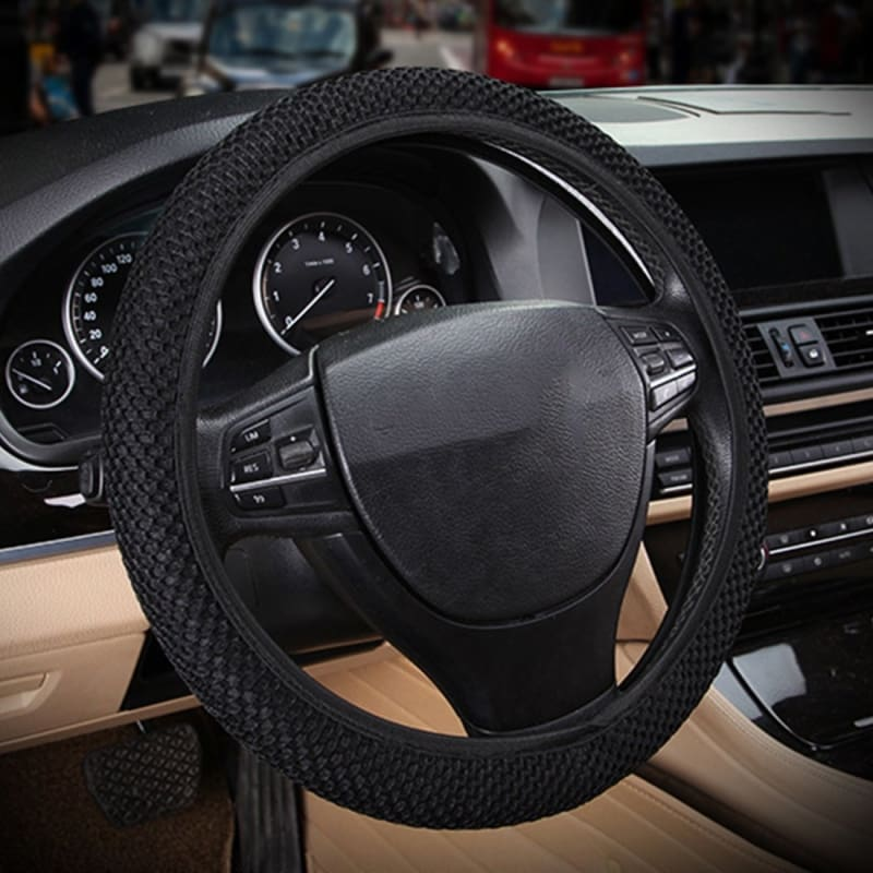 """Black Green Automotive Breathable 3D Soft Car Steering Wheel Cover Universal 15/"""""""