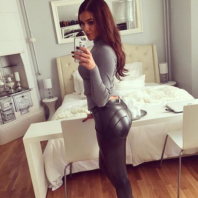 Elastic force Hot-Ass PU tight leather pants Yoga pants Hip pants