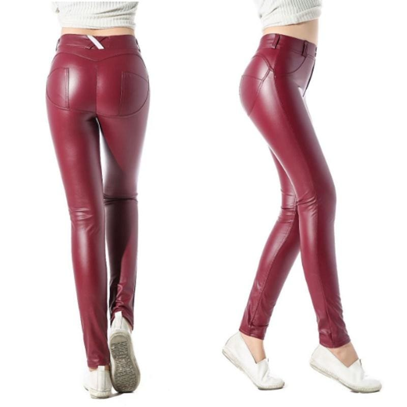 Elastic force Hot-Ass PU tight leather pants Yoga pants Hip pants - Wine Red / S