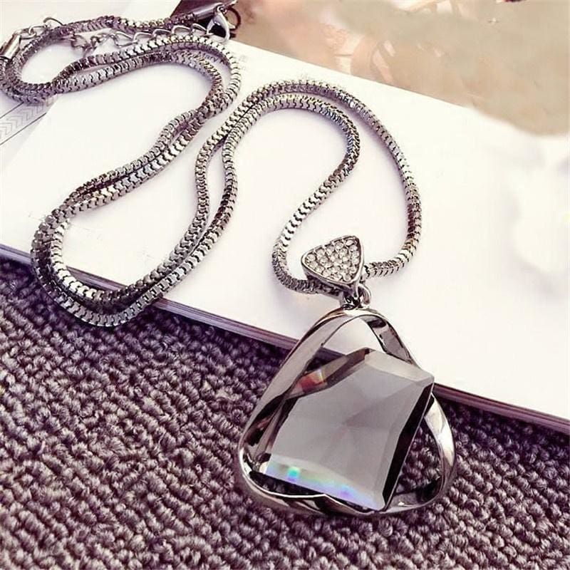 Charm Lady Geometry Crystal Rhinestone Pendant Long Chain Sweater Necklace Gift