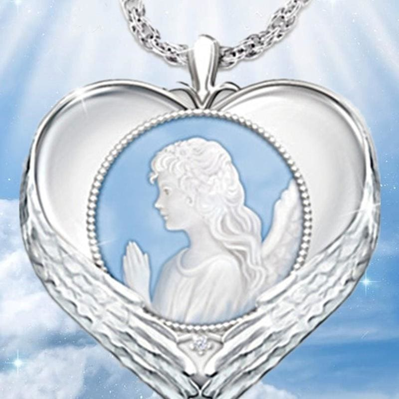Elegant 925 Sterling Silver Angels Wing Necklace Heart Pendant Chain Jewelry Lot