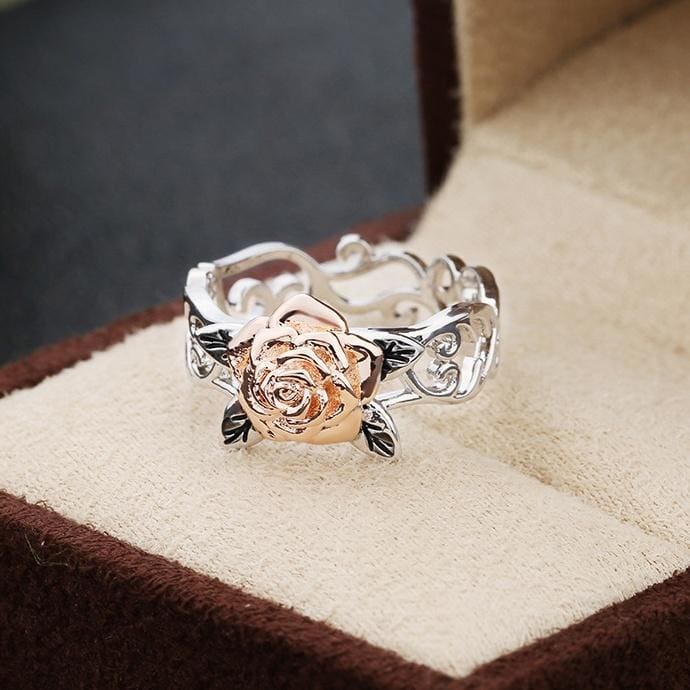 14K Rose Gold Ring Set Two Tone White Sapphire Diamond 925 Sterling Silver