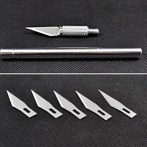 Exquisite Wood Carving Pen Paper Cutter Sculpting Art Cutting Tool Hand Craft Knife + 5 Blades DEL