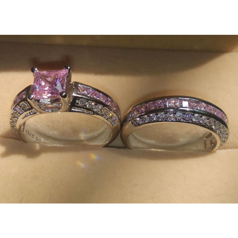 Fabulous 925 Sterling Silver Vintage Rings Set Princess Color Pink