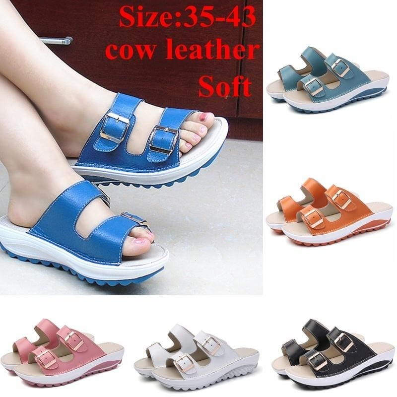 2017 Summer Men/'s Exposed Toe Beach Leather Sandals Three Colors Fashion Slipper