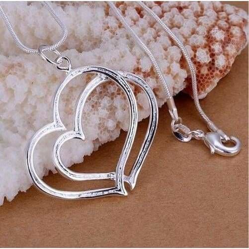 Heart Shaped 925 Silver Plated Crystal Popular Necklace Pendant Gift For Women