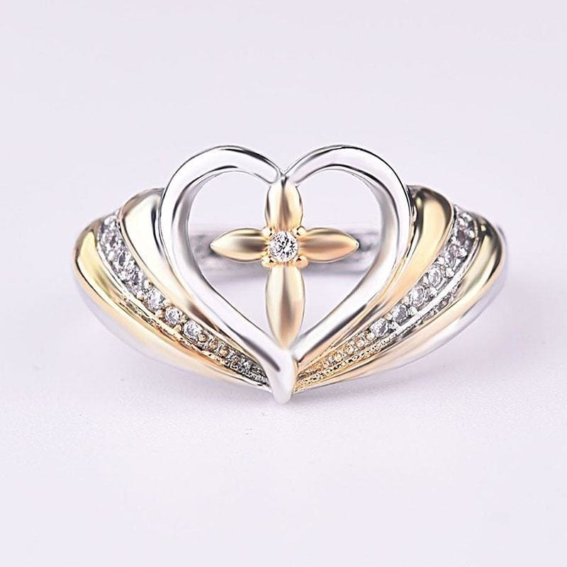 Fashion 925 Sterling Silver Cross Two Tone Ring 18k Gold