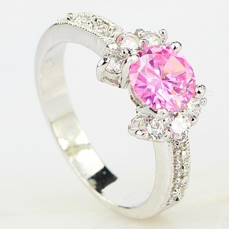 Women 925 Sliver Pearl Cut Pink Sapphire Ring Wedding Engagement Jewelry Sz6-10