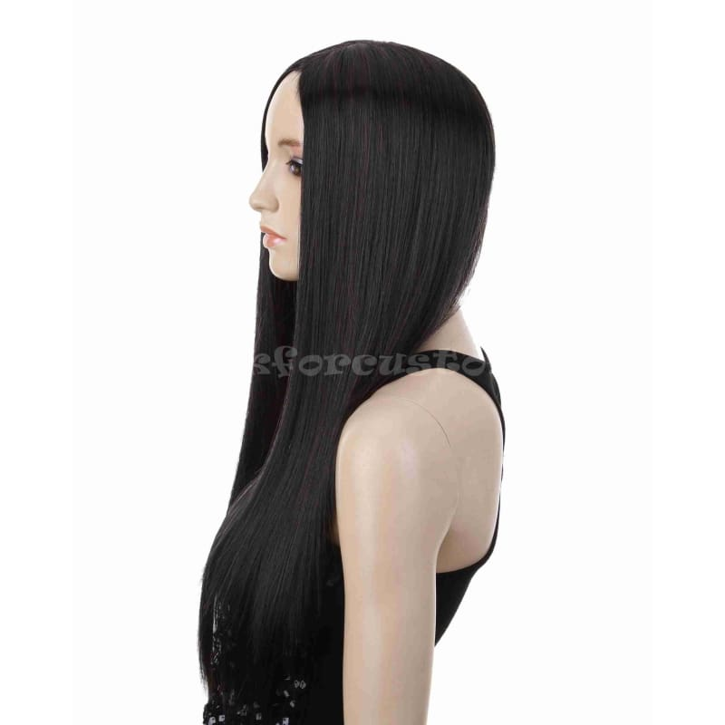 Hot sell fashion long black straight halve wig synthetic heat resistant female