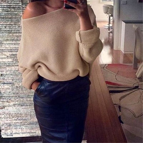 Fashion Lady Knitwear Women Casual Off the shoulder Sweater Autumn Winter Knitted Plus Size Split Pullover Sweater Long Sleeve SH0094 - M /