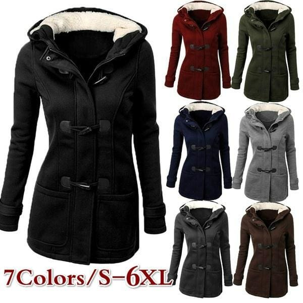 Warm Solid Color Hooded Trench Coat Horn Buckle Women Outerwear Plus Size S-4XL