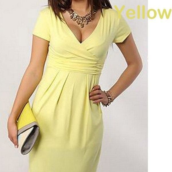 Yellow Solid Short Sleeve  Maternity Solid Top Blouse Women Pregnancy V-Neck