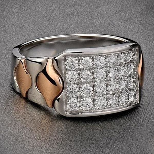 Fashion Men S 925 Sterling Silver 18k Rose Gold Diomands Jewelry