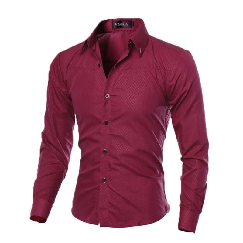 Luxury Mens Slim Fit Shirt Long Sleeve Dress Shirts Casual Shirt Top New Fashion
