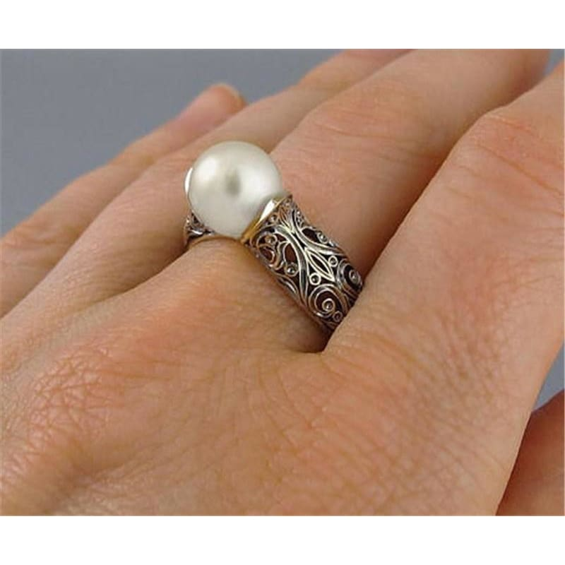 2pcs//set 18k Yellow Gold Plated Rings for Women Black Pearl Ring Size 6-10