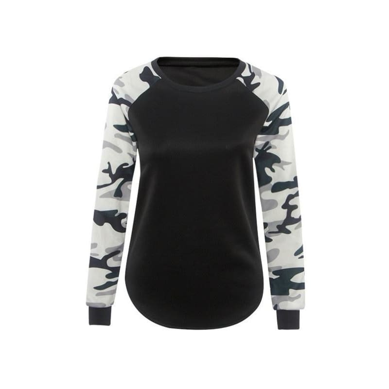 Womens Long Sleeve Camouflage T-Shirt Sweatshirt Ladies Blouse Pullover Tops