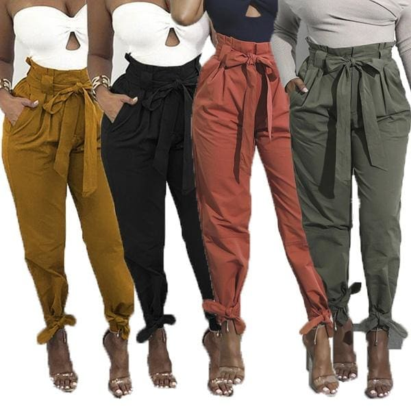 Fashion Women Long Harem Pants Comfy Elastic High Waisted OL Style Pencil Trousers