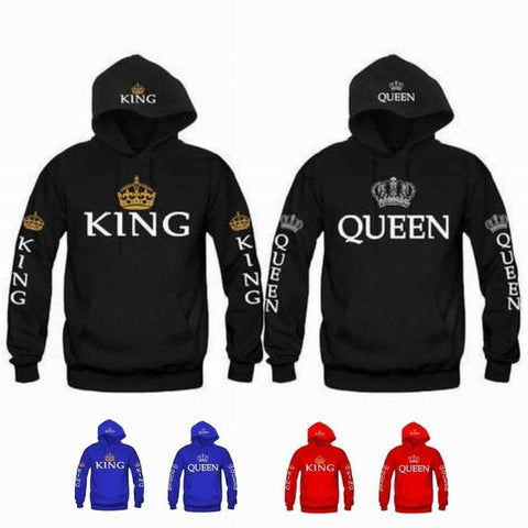 Fashion Women Men KING QUEEN Letter and Gold Silver Crown Printted Couple Matching Hoodie Hooded Cotton Long Sleeve Pullovers Sweatshirt