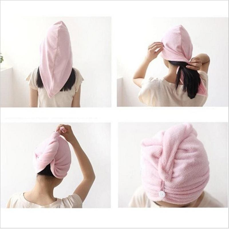 Wash Tool Bathroom Button Bathing Dry Hair Hats Shower Cap Wrapped Towel