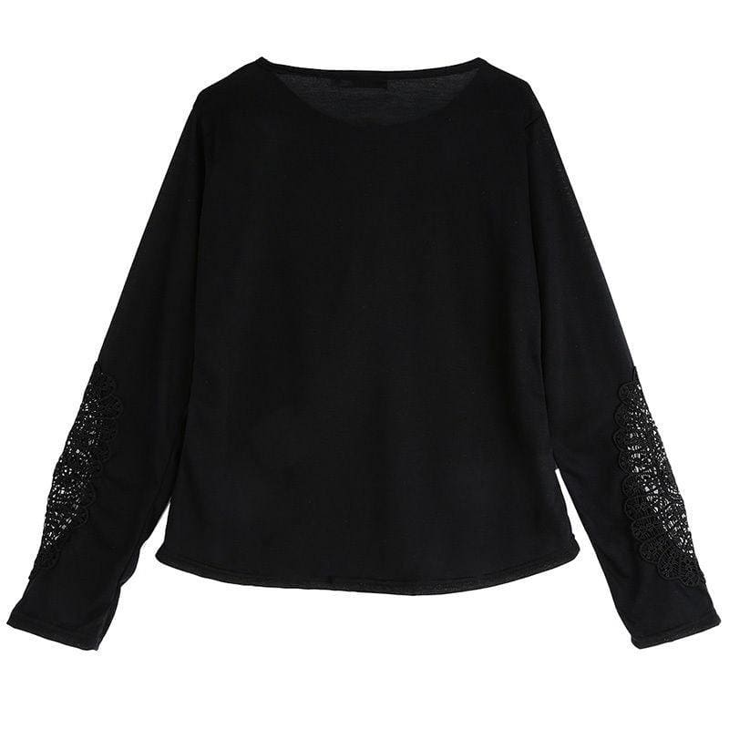 Fashion Womens Lace Hollowed-out Round Neck Long Sleeve T-shirt Lace Sleeve Large Size Lady Blouse Base Shirt(s-5xl)