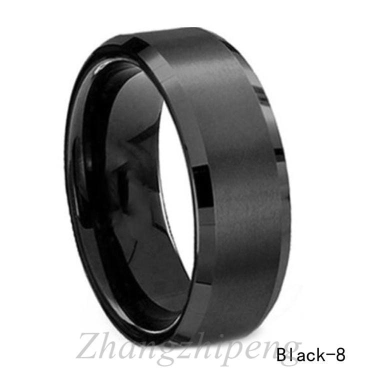Bishilin 8MM Stainless Steel IP Black Plated Wedding Rings for Men