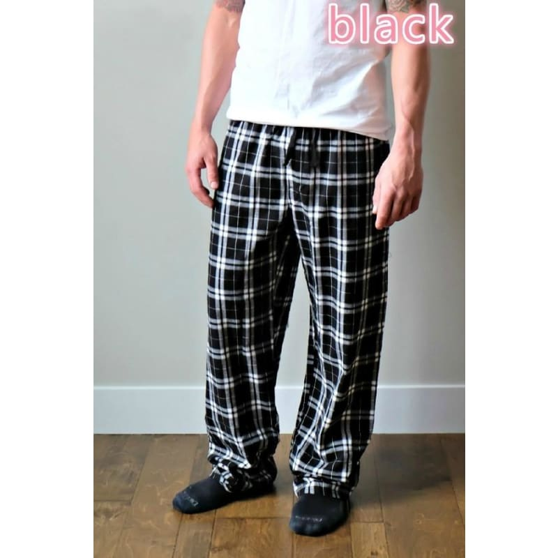 Flannel Christmas Pajamas Plaid Pants His & Hers Women Men Winter Long Trousers