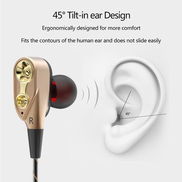 Alician Electronics for Dual Drive Stereo Wired Earphone in-Ear Bass Earbuds for iPhone Samsung 3.5mm Sport Gaming Headset with Mic red