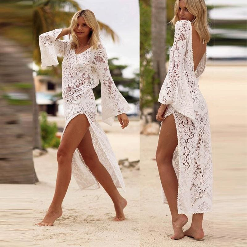 Women Sheer Lace Bikini Cover-up Summer Cardigan Swimwear Beach Long Coat Solid