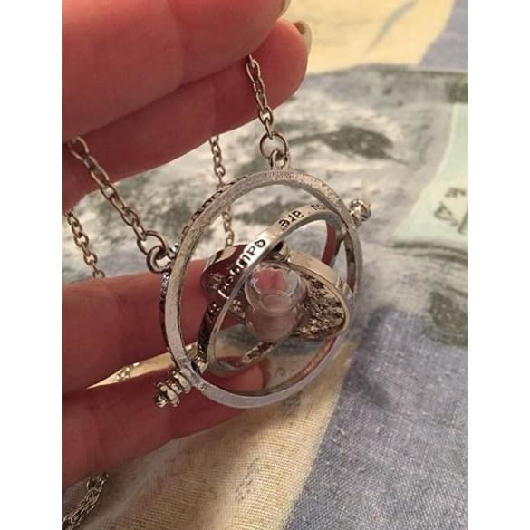 Harry Potter Time Turner Necklace Hermione Granger Rotating Gold Hourglass