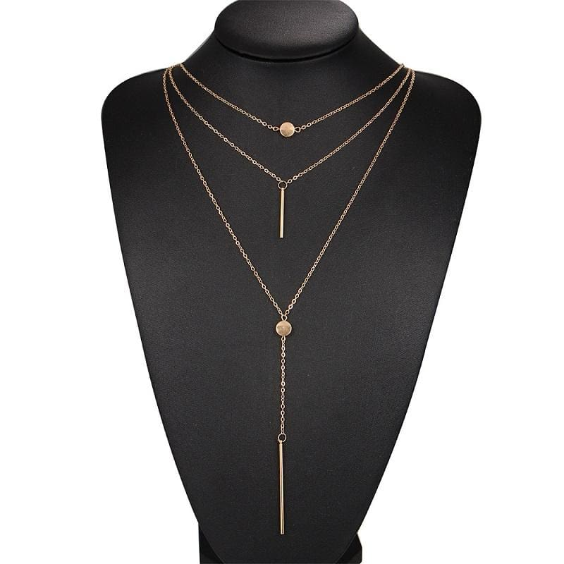 Hot Sale Vintage Metal Collares Three Layers Half Moon Gold Statement Necklace