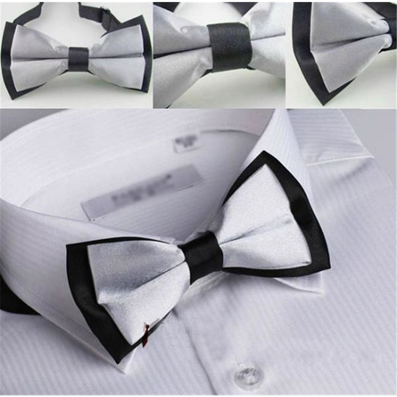 MENS DARK SILVER GREY PRE-TIED PLAIN BOW TIE MEN/'S BOWTIE WEDDING COSTUME PARTY