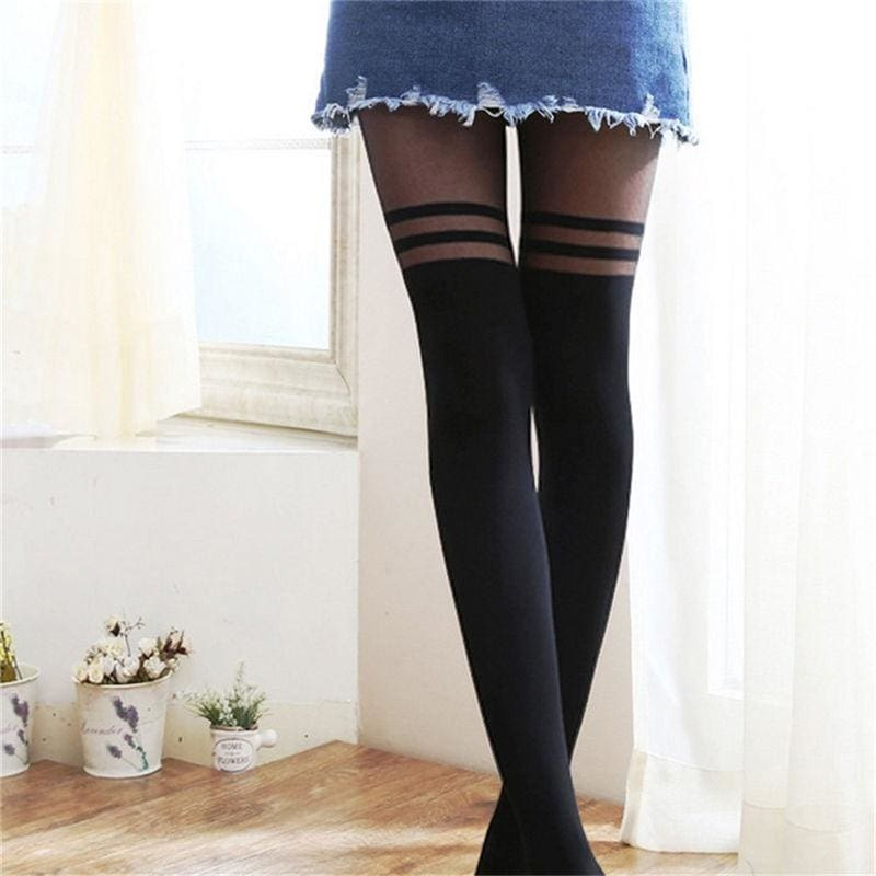 Women Girls Temptation Sheer Mock Suspender Tights Pantyhose Stockings