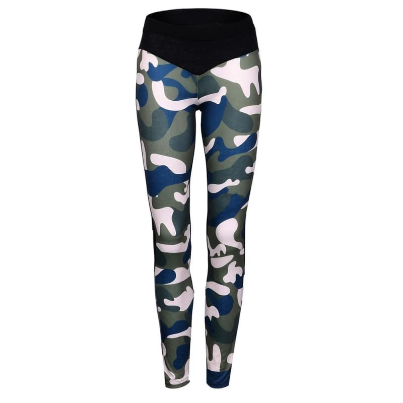 High Waist Womens Camouflage Yoga Fitness Leggings (Only Leggings)