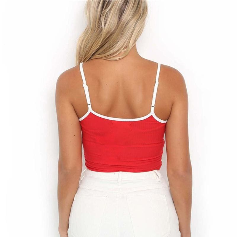 Honey Letter Embroidery Crop Tops Women Spaghetti Strap Top White Red Color Sexy Sleeveless Tanks