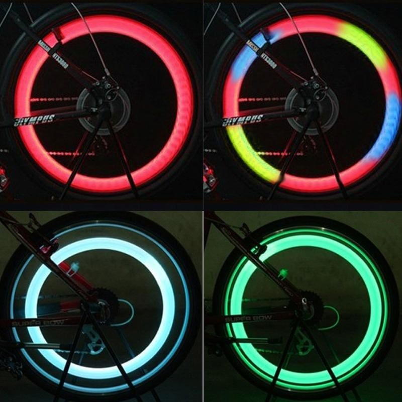 LED Dust Cap Dome Safety Light Bike Bicycle Valve Neon Bulb Car Wheel Tyre