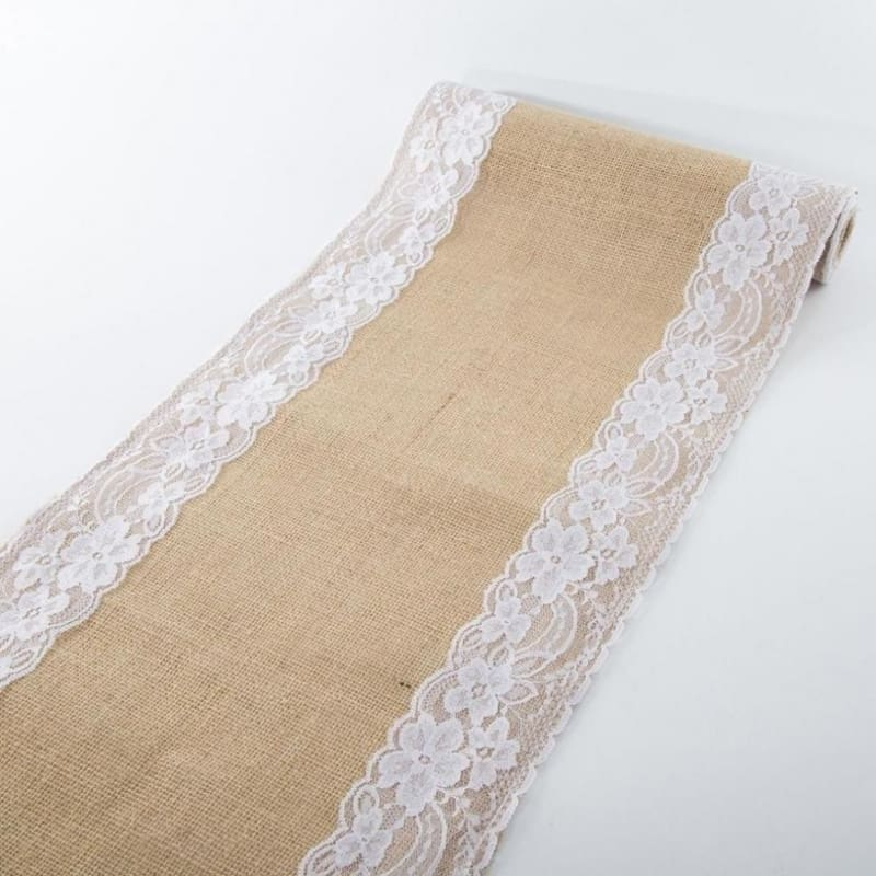 20×Burlap Lace Hessian Table Runner Rustic Jute Country Wedding Party Decor