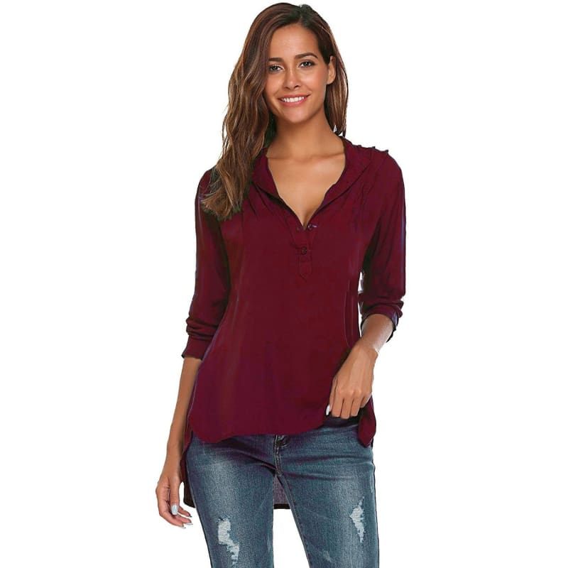 Hot Fashion Women Elegant V-neck Irregular Blouse Long Sleeve Shirt Plus Size Top