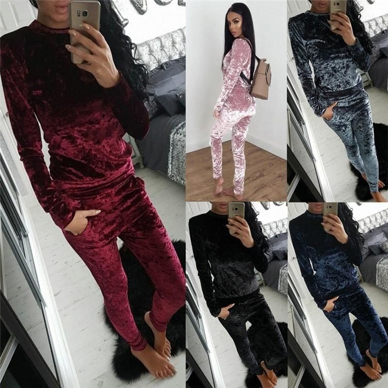 New Ladies Womens Crushed Velvet Warm Winter Tracksuit Sweatshirt Hoodies Sizes