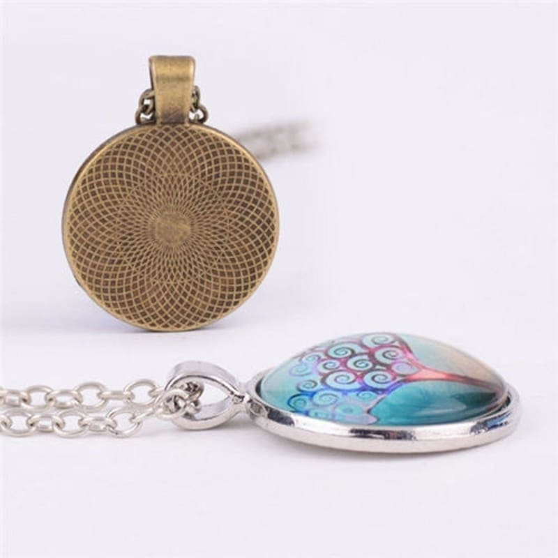 Gold Flower of Life Cabochon Glass Tibet Silver Locket Pendant Necklace