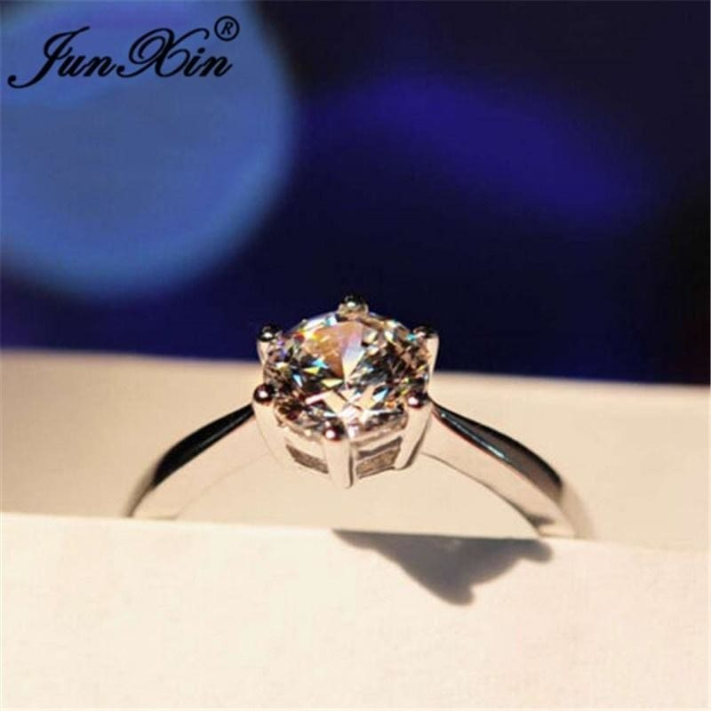 5CT White Sapphire Claw Ring 10KT White Gold Filled Wedding Rings Band Size 10